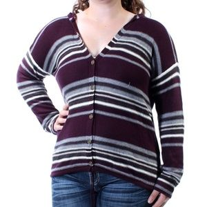 Freshman XL Purple Gray Striped Hooded Cardigan